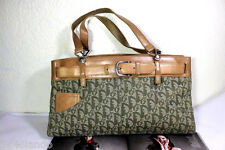 Vintage Christian DIOR Trotter Monogram Canvas & Leather Tote Shoulder Bag