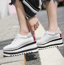 Fashion Womens Square Toe Platform High Wedge Creepers Casual Lace Up Flat Shoes
