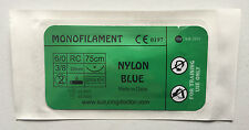 6/0 NYLON BLUE MONOFILAMENT 75cm SUTURES FOR TRAINING USE 25mm NEEDLE 12pcs NEW
