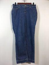 AK Anne Klein Jeans Women Size 4 / 26 Straight Leg Crop Denim Dark Wash Blue