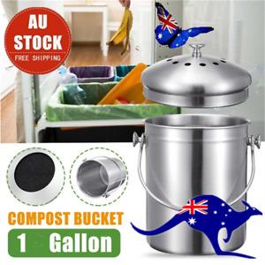 Kitchen Scraps Garbage Compost Bin Counter Top Bucket With Filter 3.8L AU