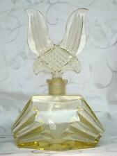 VERY LARGE ART DECO CANARY YELLOW CUT GLASS PERFUME SCENT BOTTLE CIRCA 1920