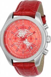 RED WORLD TRAVELER! Invicta 24141 Specialty Quartz Chronograph GMT Men's Watch