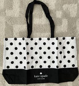 New  Kate Spade Canvas Polka Dot white/black extra large Tote Bag