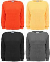 LADIES WOMEN CHUNKY KNITTED OVERSIZED BAGGY JUMPER SWEATER TOP PULLOVER S M L XL