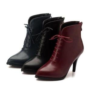 Womens Ladies Warm Stilettos Heel Lace Up Zip Pointy Toe Ankle Boots Party Shoes
