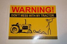 "2 x TRACTOR WARNING   VINYL STICKERS  4.5"" x  3.5""  FARM  TRACTOR   FARMING"