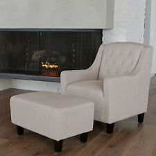 Canberra Natural Fabric ArmChair & Footstool Set Lounge Arm Tub Chair Sofa