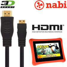 Nabi 2, Nabi XD Kids Tablet Android PC Mini HDMI a HDMI TV 3M ORO Cavo Cord
