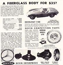 1959 DEVIN-FIAT 1100 KIT CAR   ~   CLASSIC ORIGINAL SMALLER PRINT AD