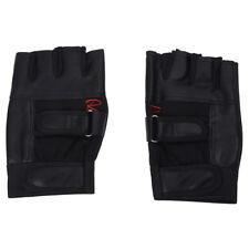 Pair of Chic Black Letter R-shaped Fingerless Gloves For Men Q7U5 R9N4