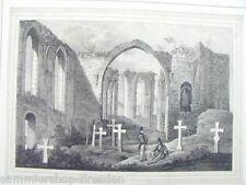 LS1013 Ruinen der Nikolaikirche in Bautzen Lithographie aus Saxonia Passepartout