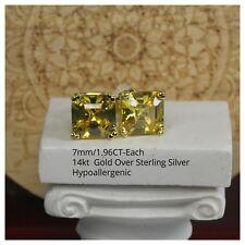 Silver Step Cut Asscher Cz Stud Earrings Gold Canary Yellow 3.92Ctw Per Pair 14K