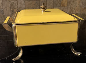 Mid Century Modern Fire King Chafing Dish Server Food Warmer Yellow Mustard