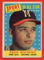 1958 Topps #480 Eddie Mathews VG-VG+ WRINKLE HOF Milwaukee Braves FREE SHIPPING