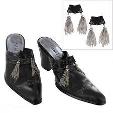 Vintage Shoe Clips Pair Square Black Silver Tone Tassel Fringe