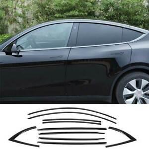 Black Titanium Windows Strip Sill Molding Cover Trim For Tesla Model Y 2020-2021