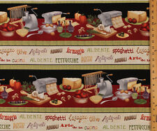 Cotton Al Dente Kitchen Pasta Food Cooking Fabric Print by the yard D472.11
