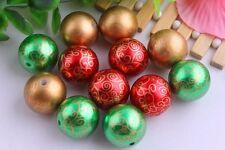 10 20mm Acrylic Round Pearl Swirl Print Christmas Mix Bubblegum Beads Chunky
