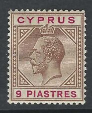 More details for  cyprus : 1912-15 gv 9 piastres yellow-brown and carmine sg 81a  mint hinged