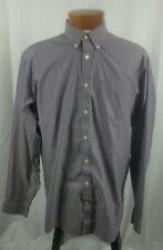 Eddie Bauer Men's Long Sleeve Button Front Men's Shirt Purple White Stripe LT