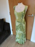 Ladies COUNTRY CASUALS CC Dress Size 14 Green Long Maxi Party Evening Wedding