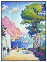 The Italian Riviera by Impressionist Paul Signac Counted Cross Stitch Pattern