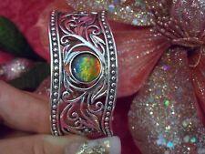 CYBER SALE ! Stunning Large Sterling Silver & Round Ammolite Cuff  Bracelet $2GO