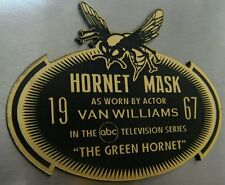 CUSTOM 1967 GREEN HORNET MASK DISPLAY NAME PLATE TV SERIES
