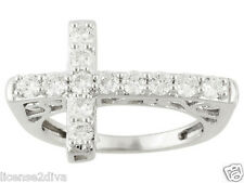 STERLING SILVER CHARLES & COLVARD CROSS WEDDING BAND RING! SIZE 7! NEW! SHINE!