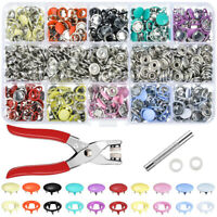 100/200 Sets Metal Sewing Buttons Hollow Press Studs Snap Fasteners Plier Tools