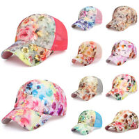 Women Summer Mesh Sun Hat Rose Painting Embroidery Flower Snapback Baseball Cap