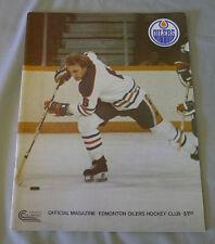 November 1978 WHA Edmonton Oilers vs Indianapolis Racers Hockey Program