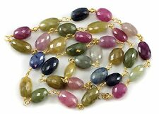 Sapphire Faceted Necklace Pink Green Blue Multi Color 14k gold fill chain  24 ""