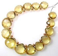 12 GENUINE GOLDEN CITRINE FACETED HEART BRIOLETTE BEADS 7-7.5 mm D4