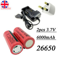 2pcs 3.7V 6000mAh Li-ion Lithium 26650 Rechargeable Battery Flat Top+Charger UK