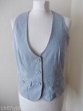 Women's Blue White Stripe  Waistcoat Vest by Papaya Size 10