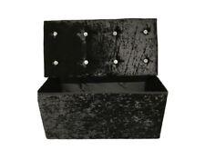 2 Seater Diamante Crushed Velvet Storage Ottoman Seat Box Pouffe 6Colours