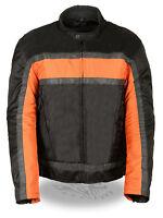Mens Black Nylon Racer Jacket Orange Reflective Stripes , Zip Out Liner