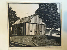 Harry E. Thompson-New Jersey artist-Original Signed wood engraving- Vermont Barn