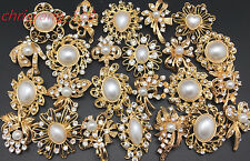 24pc/lot Mixed Gold White Pearl Rhinestone Crystal Brooch Pin D Wedding Bouquet