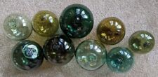 9 Vintage Glass Fishing Floats - from Norway & Sweden - Great Colors!