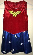 Wonder Woman Halloween Costume Dress Cape 2 Pc size medium girls Stars @