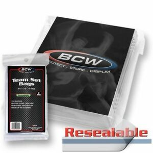 BCW Team Set Bags Resealable Card Protectors Sleeves Clear 100ct