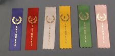 mixed lot of 32 1st thru 6th place swimming ribbons colors wreath