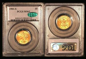 1901-S $5 PCGS/CAC MS 63 - Half Eagle