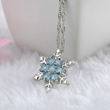 Charm Vintage lady Blue Crystal Snowflake Frozen Flower Silver Pendant Necklace