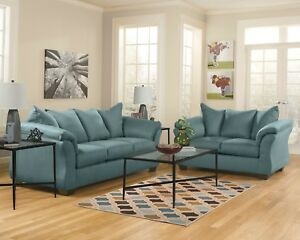 Ashley Furniture Darcy Sky Sofa and Loveseat Living Room Set