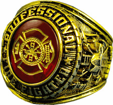 PROFESSIONAL FIREFIGHTER FIRE GOLD  RUBY RING SIZE 7 8 9 10 11 12 13 14 15