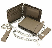 Bifold Taupe Brown Genuine Leather Zip-Around Wallet with a Chain